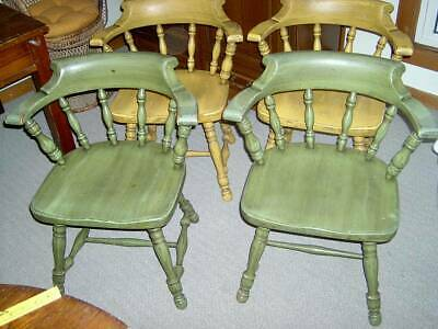 4 Ethan Allen Dining Chairs 24-6001 American Foliage captains chairs set