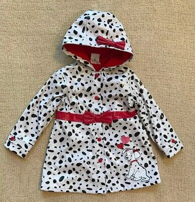 Disney Store 101 dalmatians Girls Raincoat Size 3 polka dot Red Bow NWOT