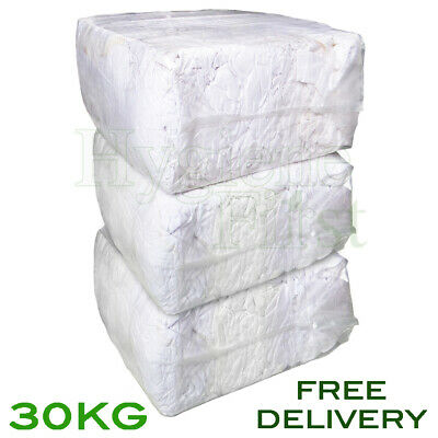 30Kg Bag of Rags White Mix Wiper Industrial Engineers Garage Rag Cotton Wipers