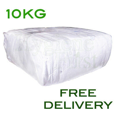 10Kg Bag of White Cotton Sheet Wipers 100% Lint Free cleaning Polish Wiper Rags
