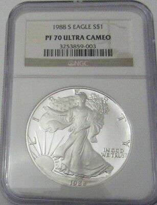 1988s  S$1 AMERICAN SILVER EAGLE Graded PR70 by NGC (proof 70) ULTRA CAMEO!