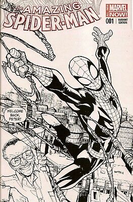 Amazing Spider-Man #1 Rare Ramos B&W variant Stan Lee cover appearance. Mint.
