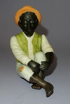 Vintage Black Afro-American Americana Seated Boy with Hat Porcelain Bisque    V