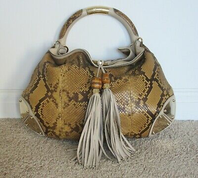 f64721e0e42 AUTH GUCCI PYTHON Babouska Indy Top Handle Bamboo Tassel Large Bag ...