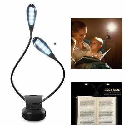 8 LED Clip on Bed Stand Light With Clamp Bedroom Reading Lamp Book Lamp AS