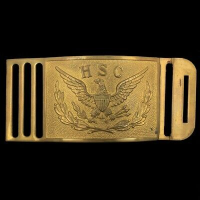 Vtg HSC ROTC Eagle Military Academy Antique Brass Belt Buckle