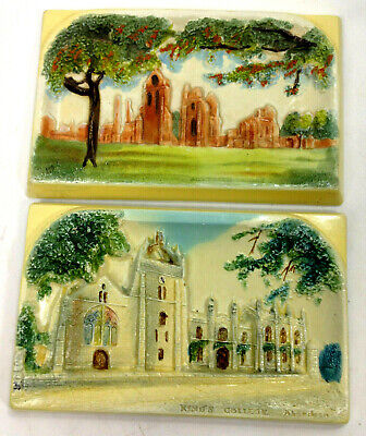 2 Vintage BOSSONS Panels Plaques Authentic Chalkware England by Gawler Jeweller