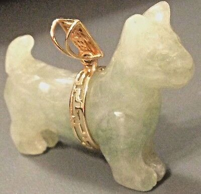 """~HTF SOLID 14k GOLD JADE DOG Pendant 3D Hand-Carved 1.25"""" CHINESE Good Luck EUC>"""