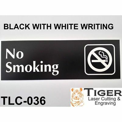 No Smoking Sign Plaque 20cm by 6cm Available in 30 Colours UV Rated Outdoor