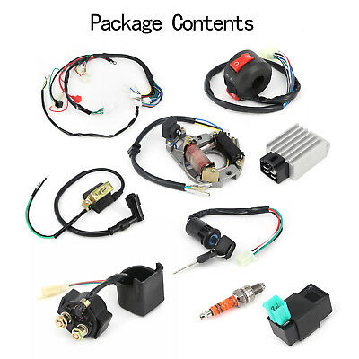50 70 90 110 125cc atv full electric wiring harness coil cdi stator  assembly kit