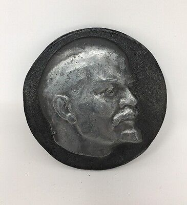Lenin Russia Russian Soviet Relief Table Medal Metal Signed Ship From USA 1819