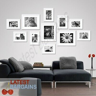 11 Piece Picture Frame Set Wall Art WHITE Collage Photo Frames Home Decor NEW