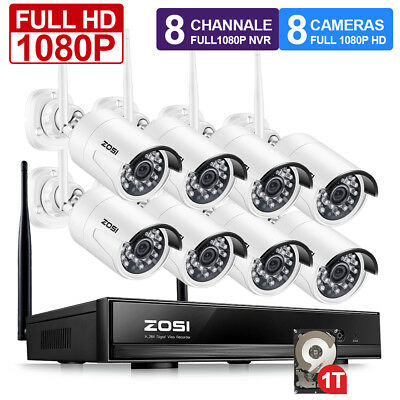 ZOSI Full 1080p Wireless 8CH NVR 2MP HD CCTV Security Camera System IP WIFI 1TB