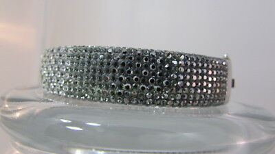 Stunning Pave fading crystal hinged Sterling silver Hinged Bracelet signed CT