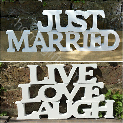 White Freestanding Wooden Letters Words Sign Wedding Table Decoration Home Decor