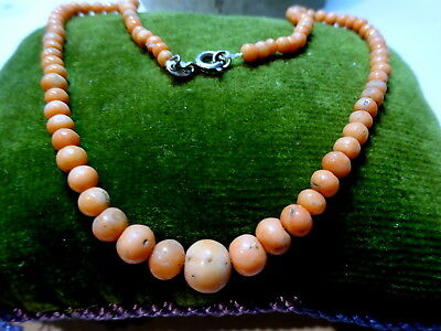 Antique Victorian Hand Carved Graduated Natural Coral Beads Necklace Child/Doll