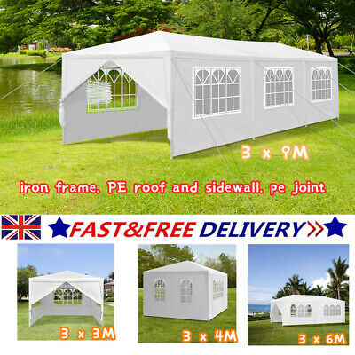 White Waterproof Outdoor Garden Gazebo Party Tent Marquee Canopy Carport Shelter