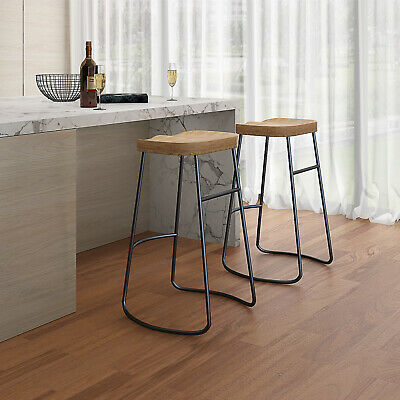 Wooden Top Industrial Bar Stools & Kitchen Breakfast High Chair Seat Barstool