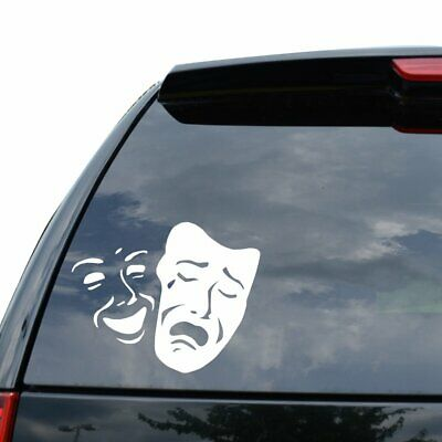 DRAMA MASK THEATER COMEDY TRAGEDY Decal Sticker Car Truck Motor - 5 inch - White