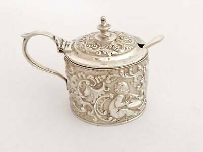 1892 Solid Silver Mustard Pot With Glass Liner & Spoon (R3060A)