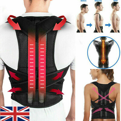 UK Women Men Posture Corrector Body Brace Bad Back Lumbar Shoulder Support Belt