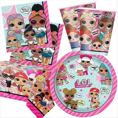 LOL Surprise Party Tableware Pack Kit 8 Guests - Plates Napkins Cups Table Cover