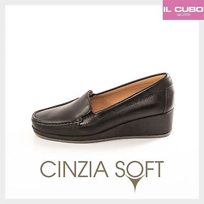 Cinzia Soft Scarpa Donna Mocassino Pelle Colore Nero Zeppa H 4 Cm New Shoes