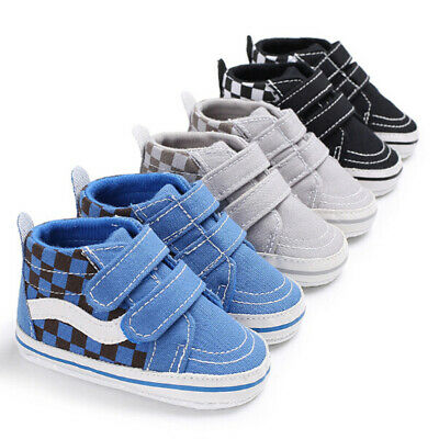 UK 0-18Months Toddler Infant Canvas Anti Slip Newborn Baby Boy Crib Shoes NEW