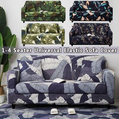 1-4 Seaters Printed Sofa Cover Stretch Washable Floral Removable Wrap Slipcovers