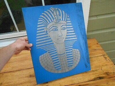 "Rare Pharaoh King Tut Tutankhamun Egyptian Copper Etching "" E. Walter May "" Art"