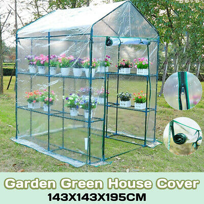 Walk In Greenhouse Garden Grow House Clear PVC Cover 6 & 8 Shelves 143X143X195cm