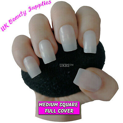 600x Short/Medium Length SQUARE FULL COVER False Nails Tips NATURAL - UK SELLER