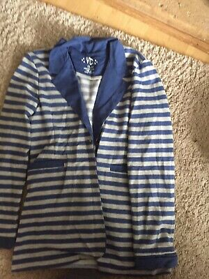 Girls Primark Striped Jacket Age 12-13 Blue & Grey Worn Once