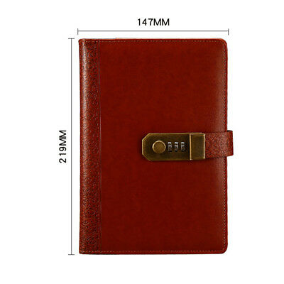 Diaries Journals Notebook PU Leather A5 with Code Lock Secret Diary Girls