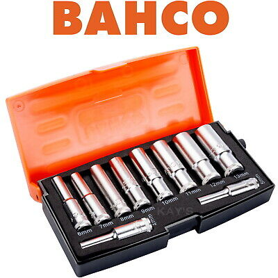 "Bahco 10 Piece Deep Metric 1/4"" Square Drive Long Hex Sockets Set & Case S0810L"