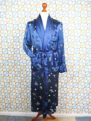 S/M Stunning Vintage 50's Mens Night Gown Blue Floral Woven Silk Smoking Jacket