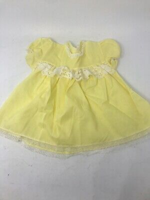 Vintage Infant Baby Dress Yellow Cotton Lace Party 6-9 months