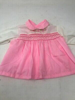 Vintage Infant Baby Dress Smocked Pink Long Sleeves 6 months JCPenney 1970s 80s