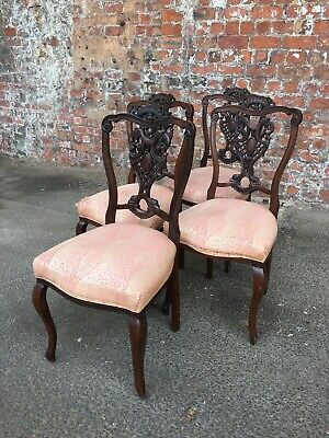 Set Of Four Antique Victorian Ornate Mahogany Salon Chairs - 4 Dining Chairs