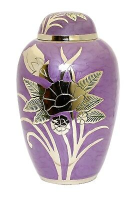 Urn for ashes Adult Cremation Memorial Funeral Large Ash container Purple Brass