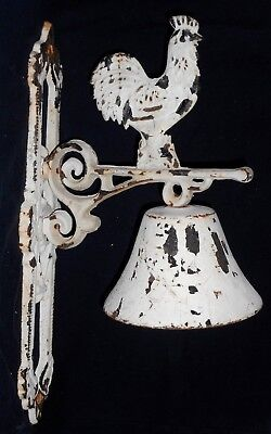 Antique Rustic Farmhouse Hanging Cast Iron Rooster Dinner Bell Cockerel HEAVY