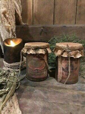 Primitive Cloves & Tartar Cans Early Look Rusty Grubby Homestead Cupboard Tuck