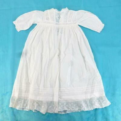 Antique 1920s Baby/Childs White Cotton and Lace Christening Gown Dress, 20-in.