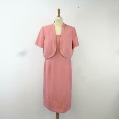 Jacques Vert Peach Pink Floral Embroidered Mother of the Bride Dress Suit, UK 16