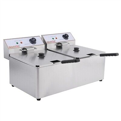 Commercial Twin Table Top Fryer 11L Chip Double Imettos 101006