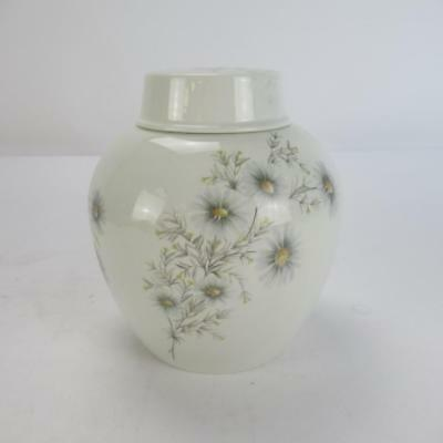 Burleigh Ironstone Ginger Jar with Lid & Floral Pattern Design - Made in England