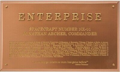 Eaglemoss Star Trek USS Enterprise NX-01 Dedication Plaque, #EMSTPLQ5