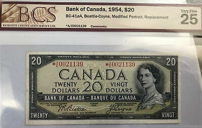 Bank of Canada 1954 Modified Replacement NOTE $20  BC-41aA Beattie Coyne