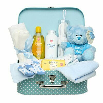 Newborn Baby Gift Set  Keepsake Box in Blue with Baby Clothes, Teddy and Gifts