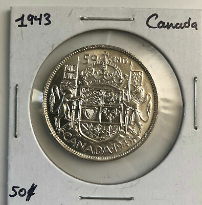 Canada 1943 50 Cents 80% Silver Fifty Cent Piece Mint State